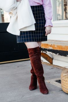 How to wear over the knee boots for spring via Glitter & Spice