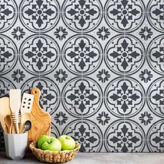 Paint your old tile with our Barcelona Tile stencils! This European cement tile stencil is perfect for creating a gorgeous painted tile floor, kitchen tile backsplash, accent wall or even a table top! Huge collection of Tile Stencils at great prices! Stencil Diy, Stencil Painting, Tile Stencils, Stenciling, Painting Tile Floors, Painted Floors, Stencil Patterns, Stencil Designs, Tile Patterns