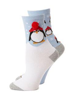 Blue 2 Pack Penguin with 3D Pom Pom Ankle Sock - multipack - socks - lingerie  - Women