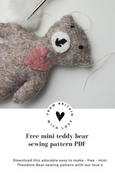 tiny teddy bear free sewing pattern PDF by A Sewing Life with beautiful pattern to download as well as expert tips and step by steps from Lisa herself #teddy #bear #sewing #pattern #etsy #free #frombritainwithlove Craft Tutorials, Sewing Tutorials, Sewing Projects, Sewing Patterns Free, Free Sewing, Mini Teddy Bears, Teddy Bear Sewing Pattern, Tiny Teddies, Willow Weaving