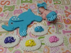 Baby with Elephant Cake Topper  Baby Blue/ Elephant by anafeke, $17.00