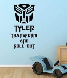 Transformers, Autobots, Custom, Personalized, Name, Boy, Decepticon, Decal, Vinyl, Sticker, Wall Art, home, bedroom, nursery, kid's decor