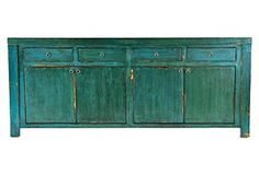 Gorgeous Blue Sideboard.  Would look great in basement along wall under TV.