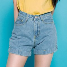 Light Blue High Waist Cuffed Shorts | mixxmix | Shop Korean fashion casual style clothing, bag, shoes, acc and jewelry for all