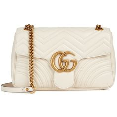 GUCCI GG Marmont Medium Leather Shoulder Bag ($1,900) ❤ liked on Polyvore featuring bags, handbags, shoulder bags, real leather shoulder bags, gucci shoulder bag, heart purse, chevron purses and gucci purse