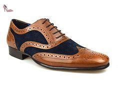 Rouge Bande Carn en cuir marron clair et en daim Marron clair/bleu marine Chaussures richelieu pour hommes - Marron - Brun, - Chaussures red tape (*Partner-Link)