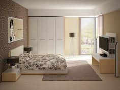 papel de pared precioso en el dormitorio moderno