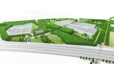 BIC CAMPUS     What if the high tech industry would stop competing with each other for orders but starts boosting innovation by working together smart and efficient? You get BIC - Brainport Industry Campus. The first 25ha of warehouses with public atria are drawn into the new 200ha BIC-campus of Eindhoven. #eindhoven #nl #thenetherlands #landscape #design #landscapedesign #campus #smartcity #birdseyeview #3d #illustration by LAP Landscape & Urban Design www.laplab.eu/