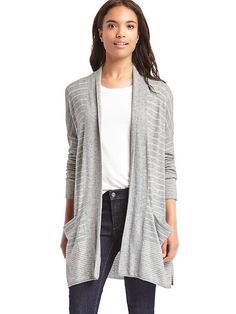 Designer Clothes, Shoes & Bags for Women Striped Cardigan, Knit Cardigan, Spring Maternity, Gap Women, Open Front Cardigan, Long Sleeve Tops, Heather Grey, Style Inspiration, Sweaters