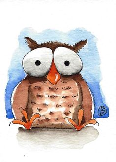 ACEO Original watercolor painting Lucia Stewart whimsical animal Baby bird Owl…