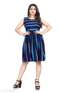 Checkout this latest Dresses Product Name: *Comfy Fashionable Women Dresses* Fabric: Crepe Sleeve Length: Sleeveless Pattern: Printed Multipack: 1 Sizes: XS, S (Bust Size: 36 in, Length Size: 38 in)  M (Bust Size: 38 in, Length Size: 38 in)  L (Bust Size: 40 in, Length Size: 38 in)  XL (Bust Size: 42 in, Length Size: 38 in)  XXL (Bust Size: 44 in, Length Size: 38 in)  Country of Origin: India Easy Returns Available In Case Of Any Issue   Catalog Rating: ★3.9 (250)  Catalog Name: Comfy Partywear Women Dresses CatalogID_2189768 C79-SC1025 Code: 462-11610847-585