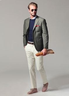 Exclusive First Look: Ovadia & Sons Spring 2013 Boy Fashion, Mens Fashion, Olive Jacket, Espadrille Sneakers, Navy Sweaters, Comfortable Outfits, Sport Coat, Summer Collection, Gq