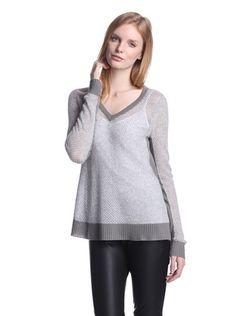 60% OFF Quinn Women's Gwendolyn Mesh Cashmere Sweater (Silver Mouline/Grey)