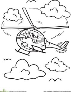 Kindergarten Vehicles Worksheets: Helicopter Coloring Page