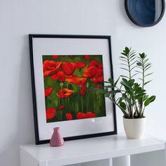 Poppy field print, Wall Art Print of Original Oil Painting, Original contemporary art, wall decor Printable Wall Art, Poppy, Wall Art Prints, Contemporary Art, Wall Decor, Oil, Unique Jewelry, Frame, Handmade Gifts
