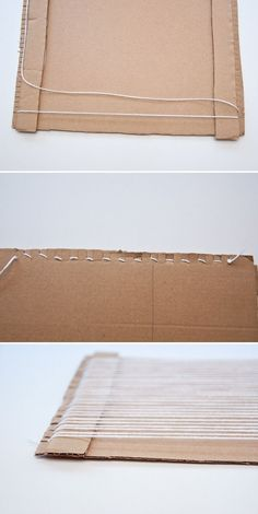 How to Make a Loom out of Cardboard and Start Weaving! For those that want to try weaving, but don't want to spend money on a loom before they know if they'll like it, this is your post. And this post can also be used for those that want to… Weaving Loom Diy, Weaving Art, Tapestry Weaving, Weaving Kids, Fabric Weaving, Rug Loom, Weaving Projects, Art Projects, Diy Cardboard