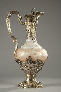 A silver mounted crystal ewer, late century by Puiforcat. Muebles Estilo Art Nouveau, Vase Cristal, Antique Glassware, In Vino Veritas, Motif Floral, Art Object, Vases, Decoration, Jewelry Art