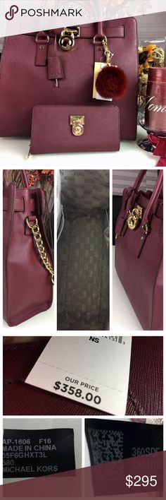 """Michael Kors Hamilton Large Saffiano Leather Bag Michael Kors 💯 % Authentic with tags Hamilton Large Saffiano Leather Bag in Merlot Color.                                                           Saffiano Leather -Two Top Handles, Leather Shoulder Strap -Interior Zip Pocket, Interior Cell Phone Pocket, Two Interior Pouch Pockets, Keyfob -Working Lock and Key -14"""" x 13"""" x 6.25"""" -Magnetic Fastening -Fully Lined -Imported. Check my other listings for the matching wallet and a key charm…"""