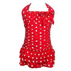 Qyqkfly Girl Polk Dot Solid Splice Cross-Back One Piece Swimsuit (FBA) - http://shopping-craze.com/2016/06/08/qyqkfly-girl-polk-dot-solid-splice-cross-back-one-piece-swimsuit-fba-3/