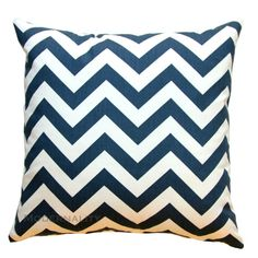Chevron Cushion Cover- Premier Prints Navy Blue and White Zig Zag Pillow Cover- 16x16 or Choose Size- Zippered Pillow- Nautical Decor
