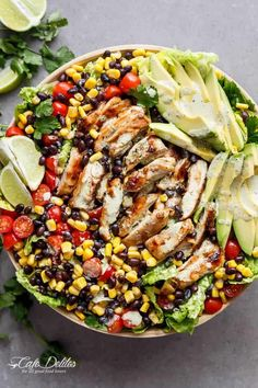 Put a spin on a Southwestern Salad with this Chili Lime Southwestern Chicken Salad with a low fat and CREAMY Cilantro Chili Lime Dressing that doubles as your marinade! Southwestern Chicken Salad with a Low Fat Creamy Dressing. Best Salad Recipes, Chicken Salad Recipes, Healthy Recipes, Salad Chicken, Healthy Salad With Chicken, Chicken Rice Bowls, Chopped Salad Recipes, Chicken Burrito Bowl, Avocado Chicken