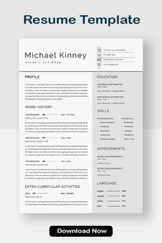 Resume Template | One page resume | Professional Resume | Modern Resume #resumetemplates #webdesign #resumewriters #resumebuilding