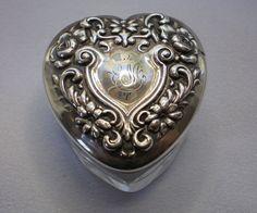 Miniature,  Sterling Topped  Vanity Jar , Heart Shaped, C.1900