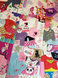 Quilt made out of baby's clothes! made by Heart and Sew in NC.