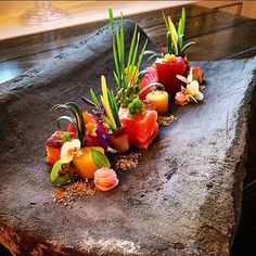 Maurice Van Laar : 't Olde Regthuys ( Elburg - The Netherlands ) Tuna marinated - pickled Salmon - coppa di Parma - sea fennel - saffron potato - pea cream - Tobiko Caviar - citrus