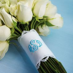 Monogrammed Wedding Bouquet Wrap | #exclusivelyweddings | #monogram