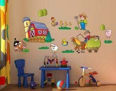 Farm Set Wall Decal, Wall Sticker, Wall Tattoo.