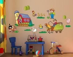 Farm Set Wall Decal, Wall Sticker, Wall Tattoo.