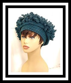 Hand Crochet Hat Womens Hat, LINDA Crochet Cloche Hat, Steampunk Hat, Wide Brim Hat Women, African Hat, Teal Blue Hat by strawberrycouture on Etsy