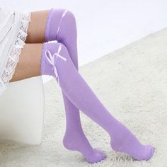 Japanese School Girl Uniform Bowknot Over Knee Cosplay lolita Socks Hose ColorPurple >>> Click image for more details. Knit Stockings, Stocking Tights, Leg Warmers For Women, Wool Tights, Colored Tights, Lace Socks, Winter Leggings, Girls Uniforms, Sexy Outfits
