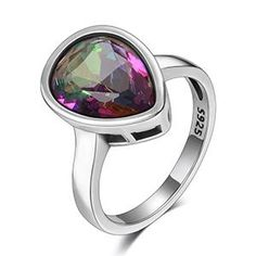 Genuine 925 Sterling Silver Jewelry Water Drop Rainbow Fire Mystic Topaz Rings For Women Fine Jewelry Anniversary Gift Wholesale Rainbow Topaz, Bohemian Rings, Mystic Topaz, Jewelry Sets, Fine Jewelry, Ring Designs, Sterling Silver Jewelry, Drop, Topaz Ring