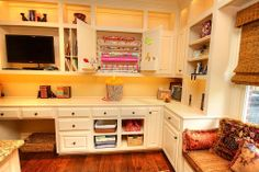 Make room to get down to business and still have space for crafts and play in this home office.