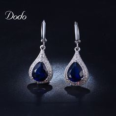 Sapphire jewelry earrings for women - free shipping worldwide