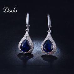 Sapphire jewelry earrings for women CZ diamond crystal vintage retro silver plated romantic pendants ladies accessories DE020♦️ SMS - F A S H I O N 💢👉🏿 http://www.sms.hr/products/sapphire-jewelry-earrings-for-women-cz-diamond-crystal-vintage-retro-silver-plated-romantic-pendants-ladies-accessories-de020/ US $2.89