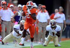 "Sammy Watkins, the new ""man"" true freshman Clemson Football, Clemson Tigers, Football Helmets, Sammy Watkins, Death Valley, Best Player, Orange And Purple, Freshman, Beast Mode"