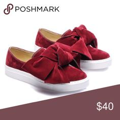 Burgundy Bow Suede Slip Ons Relaxed bow slip on sneaker. Adorable. Shoes