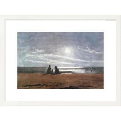 Global Gallery 'Coastal Moonlight 1874' by Winslow Homer Framed Painting Print Size: