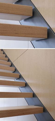 18 Examples Of Stair Details To Inspire You Stairs have the surprising ability to determine how a home feels. They're seen and used often so having a staircase that stands out is a great way to make. Cantilever Stairs, Stair Handrail, Staircase Railings, Staircases, Interior Staircase, Staircase Design, Escalier Design, Wood Steps, Steel Stairs