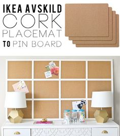 Make a huge pinboard out of cork placemats from IKEA diy cork board ideas, cork boards, organize office ideas, framed cork board ikea, cork placemat, craft ikea, pinboard diy, pinboard ideas, ikea craft organization