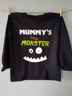 Hey, I found this really awesome Etsy listing at https://www.etsy.com/listing/484528251/mummys-little-monster-halloween-onesie