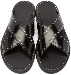 Jimmy Choo - Black Leather Carl Sandals