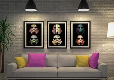 This is a Stormtrooper Pop Art Triptych version of the single panel art in the Star Wars category, these stormtrooper helmet creations are sold individually 3 Panel Wall Art, 3 Piece Wall Art, Graffiti Artwork, Street Art Graffiti, Framed Art Sets, Wall Art Sets, Star Wars Wall Art, Wall Prints, Canvas Prints