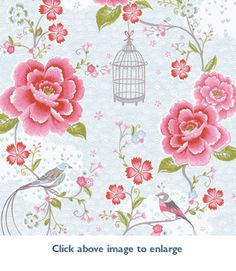 Birds in Paradise (Pink and White) Wallpaper in Pip Wallpaper