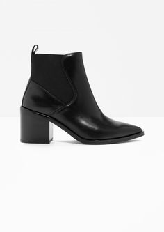Other Stories image 1 of Chunky Chelsea Leather Boots in Black