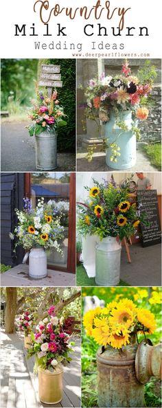 Rustic Country Backyard Milk Churn Wedding Decor Ideas #weddings #weddingideas #weddingflowers #weddinginspiration #farmwedding #dpf #deerpearlflowers #backyardwedding