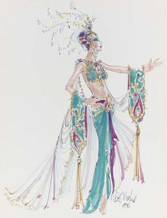 """1975 A proposed costume design by Bob Mackie for the number """"Kismet"""" from the Las Vegas show, """"Hallelujah Hollywood"""", felt pen and watercolor on paper, signed -- 23x17½in."""
